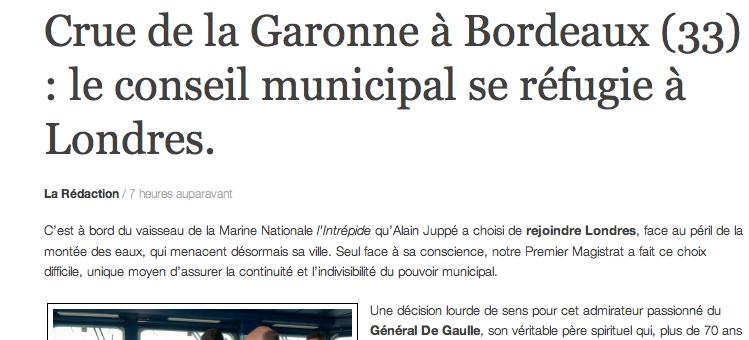 Crue à Bordeaux : le conseil municipal se réfugie à Londres