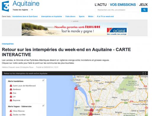 Carte interactive des intempéries (capture d'écran)