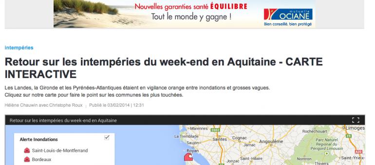 Une carte interactive des intempéries en Aquitaine