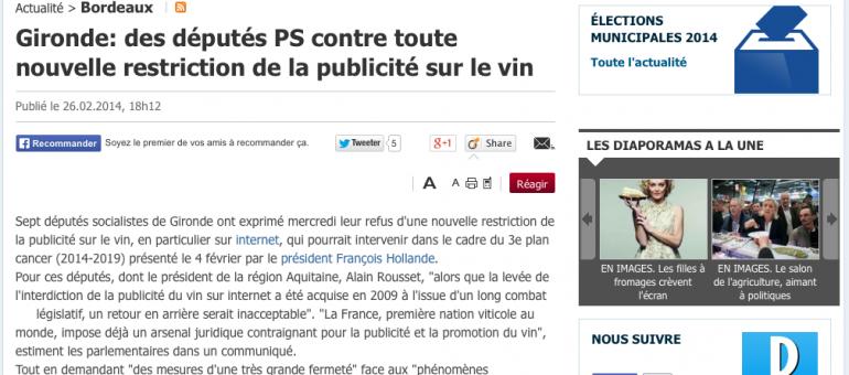 Les députés PS de Gironde ne veulent pas plus de restrictions sur le vin
