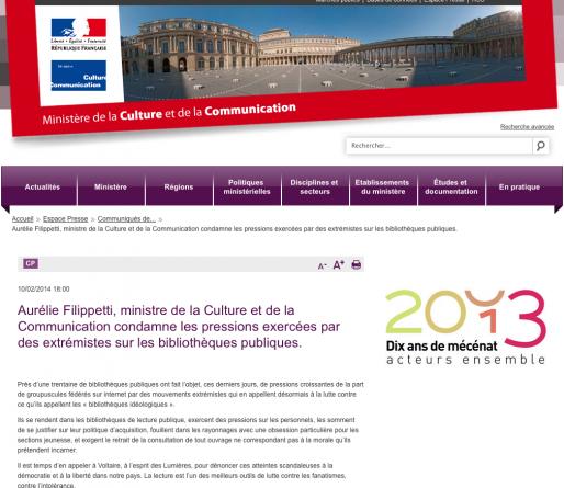Le communiqué sur le site du ministère de la Culture et de la Communication (capture écran)