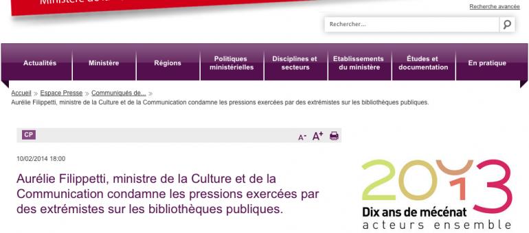 Filippetti condamne les pressions de la droite exercées sur les bibliothèques