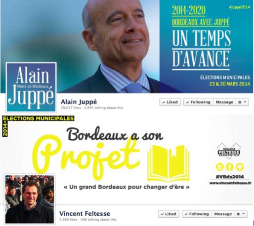 Sur sa page Facebook, Alain Juppé a bien un temps d'avance en nombre de fans : 29000 contre 6000 pour Vincent Feltesse, qui met, lui, davantage l'accent sur son projet. (captures d'écrans)