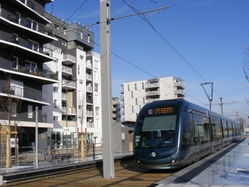Tramway à la station des Berges du lac (Photo SB/Rue89 Bordeaux)