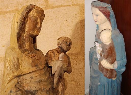 Vierge à l'Enfant et à la Colombe, église Saint Martin à Eysines. A droite la statue telle qu'elle était couverte d'enduit (DR)