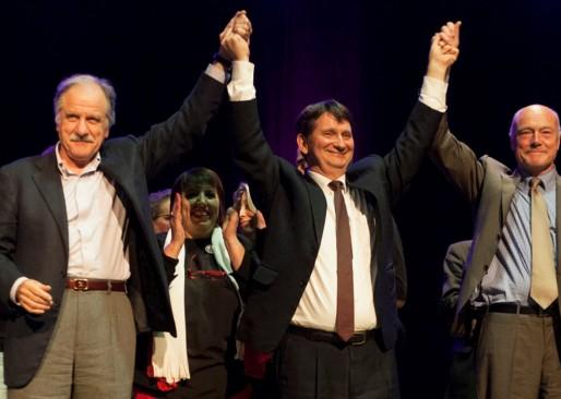 Jean-Jacques Benoît entouré de Noël Mamère et Alain Rousset (Stéphanie Pichon/Rue89 Bordeaux)