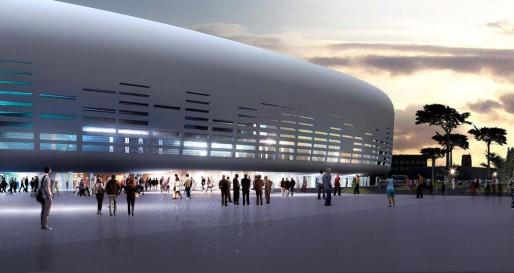 La grande salle de spectacle prévue pour 2017 dans le bas Floirac sur les bords de Garonne (DR/architecte Rudy Ricciotti)