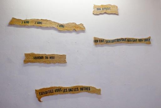"""Lucie Bayens, """"Messages"""", intestin de porc tamponné et fixé sur des pièces de bois, dimensions variables, 2010 (DR)"""