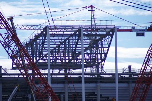 Le chantier du nouveau stade de Bordeaux en février dernier (Photo Thierry Darriet/flickr/CC)