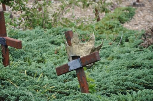 L'une des centaines de croix du cimetière des oubliés de Cadillac (Photo Tiphaine Maurin/Rue89 Bordeaux)