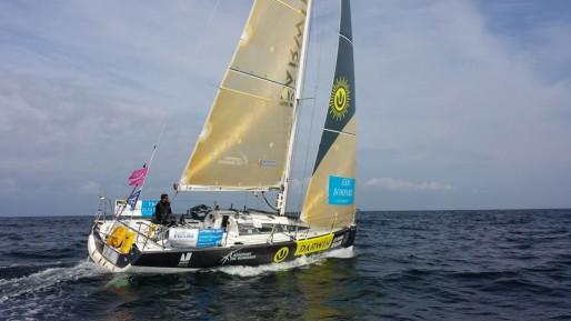 Clément Salzes sur son bateau (photo Xavier Goutel)