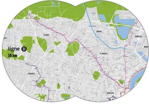 Les tracés de la ligne D du tramway (en rose) et du tram-train (en bleu) (CUB)