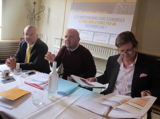 Stéphane Pusateri, Matthieu Rouveyre et Patrick du Fau de Lamothe, le mardi 7 octobre (SB/Rue89 Bordeaux)