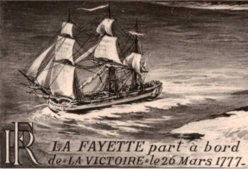 En 1777, pour son premier voyage en Amérique, La Fayette embarque depuis Bordeaux sur La Victoire.