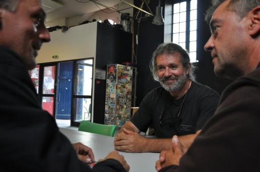 De gauche à droite : Philippe Poutou, Pascal Bourgois et Gilles Lambersend
