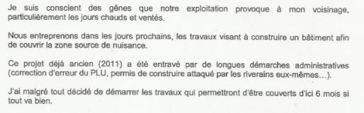 Lettre de Marc Pena au Collectif Déchet Girondin, mai 2014