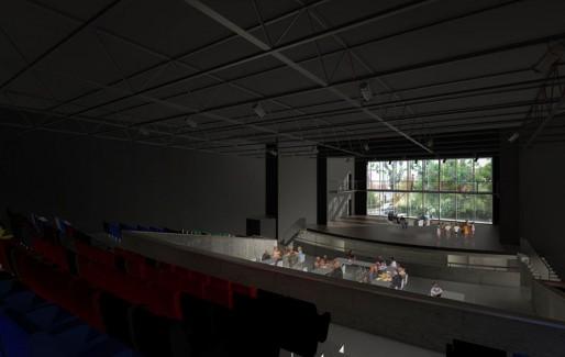 L'intérieur de la future Salle des fêtes, avec une baie vitrée au fond de la scène (Image Christophe Hutin/DR)