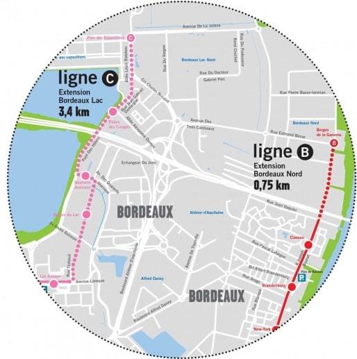 L'extension de la ligne C du tramway (Carte Bordeaux Métropole)