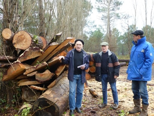 André Gousset, Jean-Claude Dupoy, président de l'ADDUFU et Christian Gousset au Pole Forestier Natus de La Teste (CB/Rue89 Bordeaux)