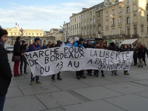 La marche pour la liberté, l'unité et le vivre-ensemble est partie de Bordeaux le 13 janvier (photo extraite de la page Facebook de la marche)