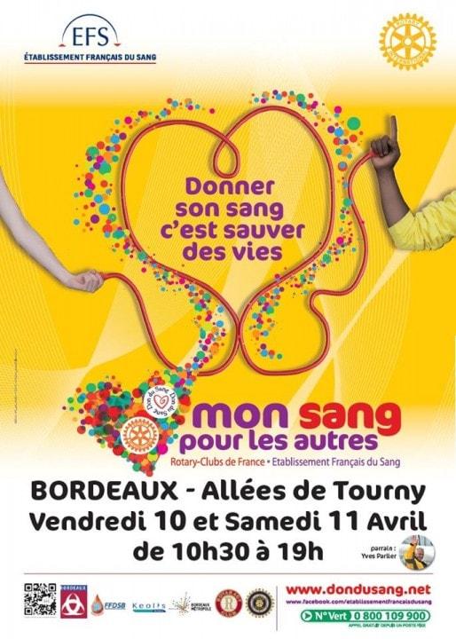 """L'opération """"Mon sang pour les autres"""", qui collecte du sang dans une ambiance festive, se déroule vendredi 10 et samedi 11 avril aux allées de Tourny, à Bordeaux."""