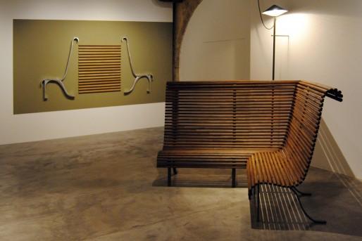 Vue de l'exposition : le banc éléphant (WS/Rue89 Bordeaux)