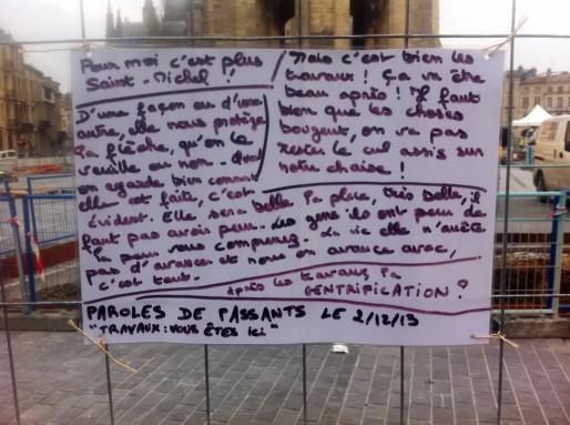 Paroles d'habitants affichées sur les grilles des travaux (WS/Rue89 Bordeaux)