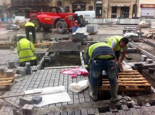 La place Saint-Michel en travaux, mars 2014 (WS/Rue89 Bordeaux)