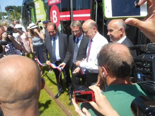 L'extension de la ligne B a été inaugurée ce lundi à l'arrêt Bougnard. (ML/Rue89 Bordeaux)