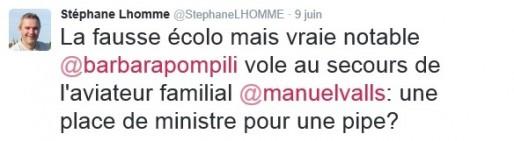 Le tweet de Stéphane Lhomme jugé sexiste et nauséabond (DR)