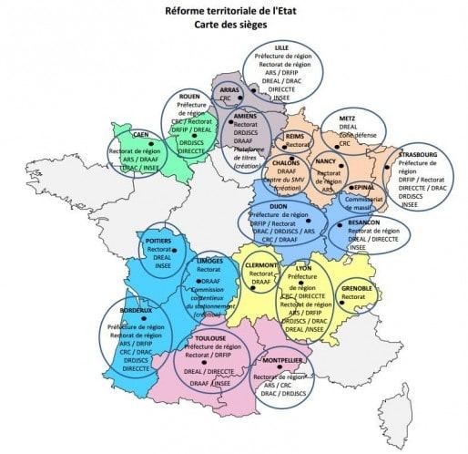 Le gouvernement a publié ce vendredi la carte des capitales et sièges. (Préfecture de Gironde)
