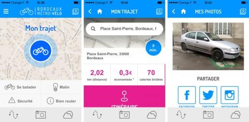 Captures écran de l'appli Bordeaux Métro Vélo (BMV). Dans la rubrique photos partagées, les utilisateurs ne manquent pas de dénoncer les voitures garées sur les pistes cyclables (DR).