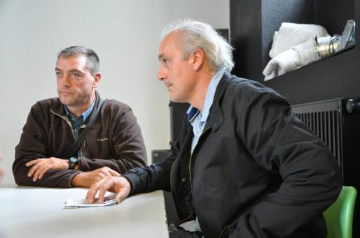 Philippe Poutou (à droite) membre de la CGT Ford (Xavier Ridon/Rue89 Bordeaux)