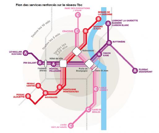 Les lignes de tram renforcées (DR)