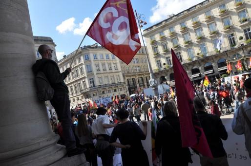 Corinne Versigny de la CGT espère une relance du mouvement social. (Xavier Ridon/Rue89 Bordeaux)