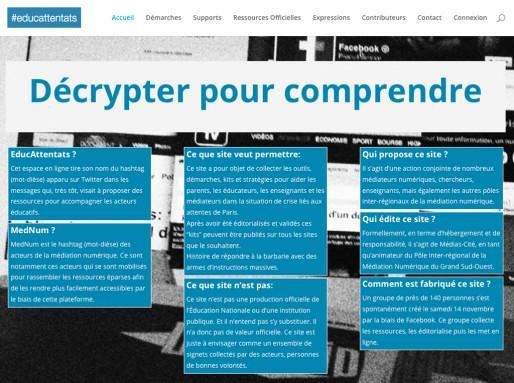 Capture écran de la page d'accueil d'EducAttentas