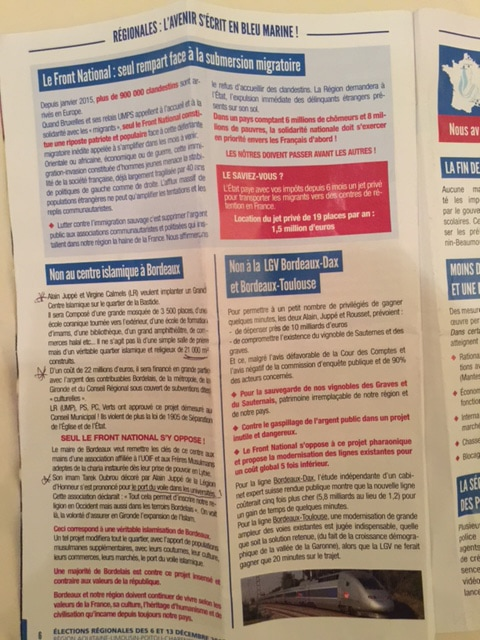 Le tract du Front national