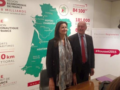 Françoise Coutant et Alain Rousset lors de l'annonce de la fusion des deux listes (page facebook (Alain Rousset)