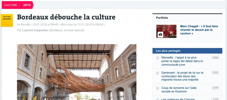 Le Monde reluque la culture à Bordeaux