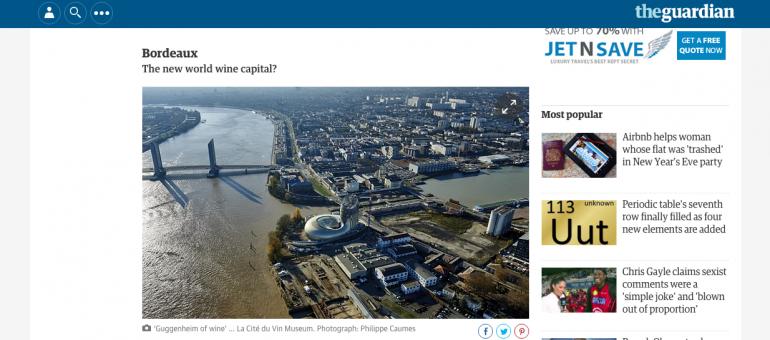 Bordeaux, une destination phare en 2016 pour le Guardian