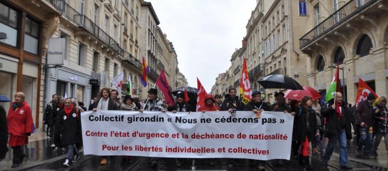 Des milliers d'opposants à l'état d'urgence à Bordeaux