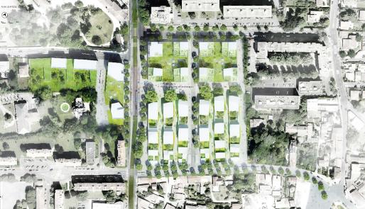 Plan de l'opération 50000 logements au Bouscat, avenue de la Libération (SB/Rue89 Bordeaux)