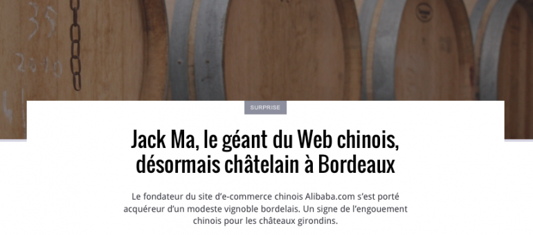 Jack Ma, le géant du Web chinois, châtelain à Bordeaux