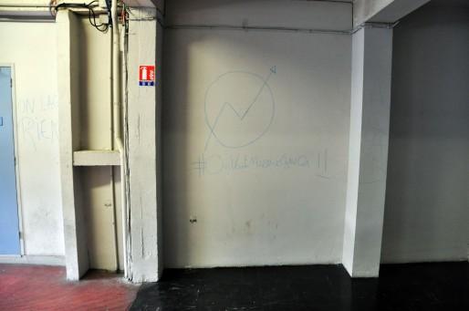Les murs du bâtiment Broca de la fac de Bordeaux ont été tagués (XR/Rue89 Bordeaux)