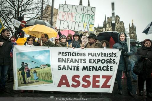 Derrière la pancarte, de gauche à droite, Marie-Lys Bibeyran, Dominique Techer et Valérie Murat (4e) (AboutLigntAndMen©Kami)