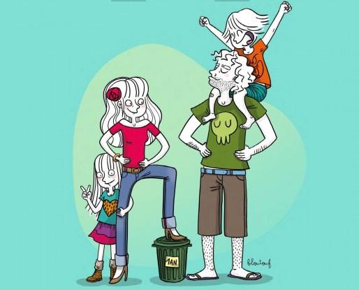 La famille zéro déchet (Dessin Bloutouf)
