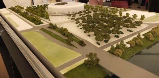 La maquette de la grande salle, au débouché du futur pont Jean-Jacques Bosc (SB/Rue89 Bordeaux)