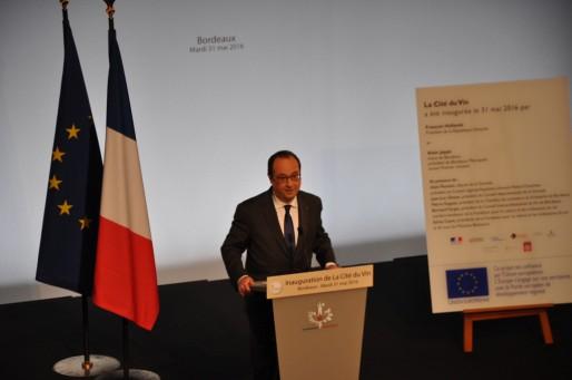 François Hollande lors de l'inauguration de la Cité du Vin à Bordeaux (Xavier Ridon/Rue89 Bordeaux)