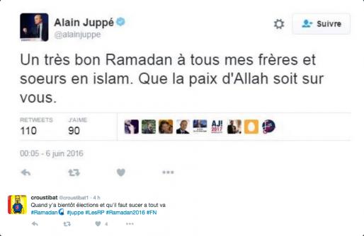 Non, Alain Juppé n'est pas devenu musulman la nuit dernière. Capture d'écran Twitter.