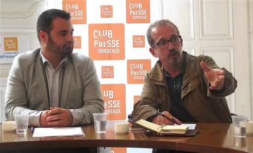 Damien Thomas et Jean-Philippe Dubern étaient au Club de la presse ce jeudi 16 juin pour présenter leur association Bordeaux 2020 (AP/Rue89 Bordeaux)